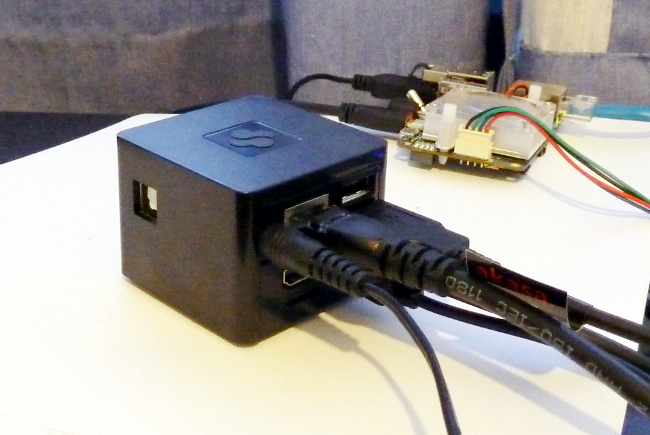 CuBox-i4-PRO, with Odroid in the background..